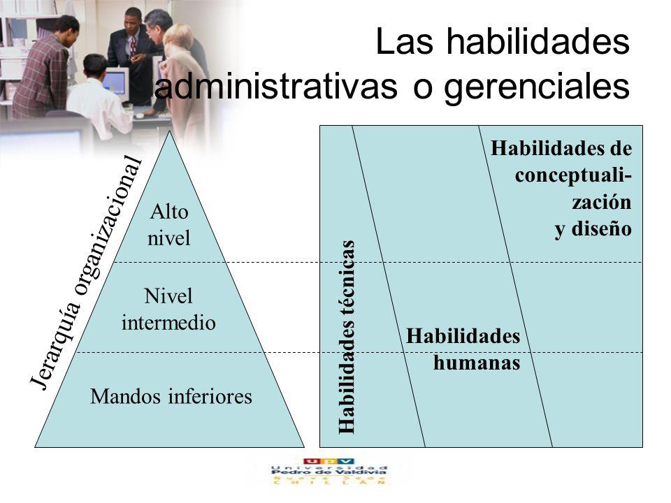 www.auladeeconomia.com Las habilidades administrativas o gerenciales Alto nivel Nivel intermedio Mandos inferiores Jerarquía organizacional Habilidades técnicas Habilidades humanas Habilidades de conceptuali- zación y diseño