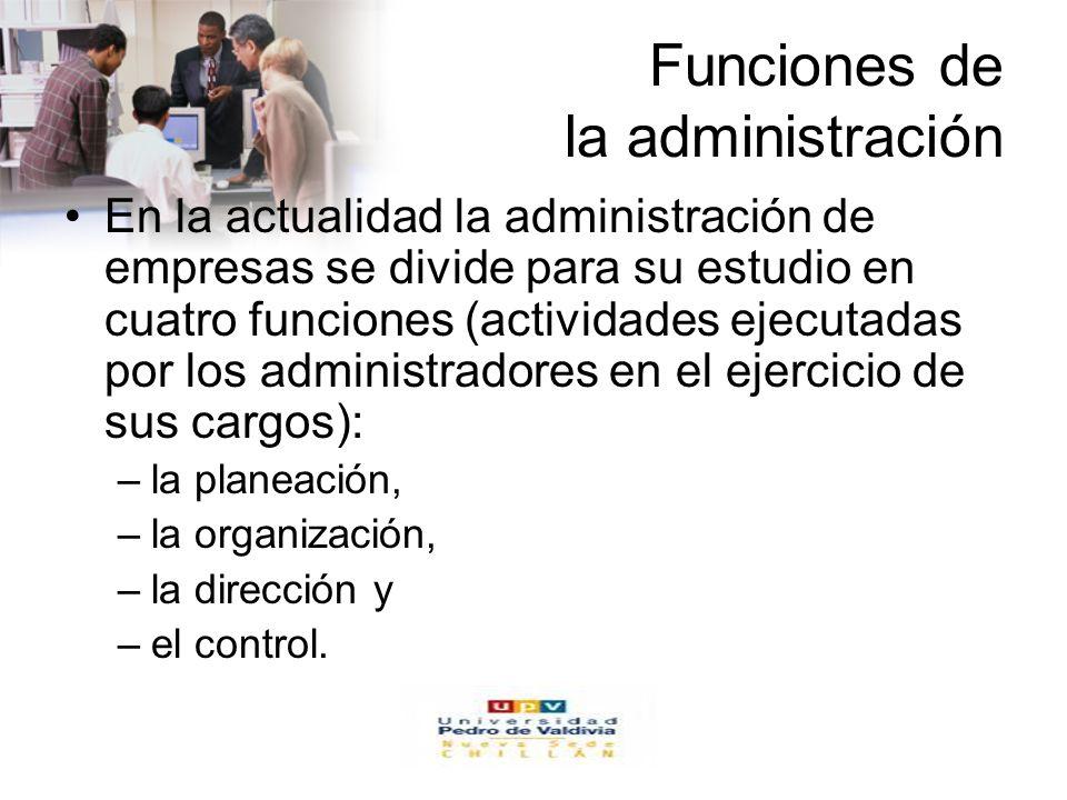 www.auladeeconomia.com Funciones de la administración En la actualidad la administración de empresas se divide para su estudio en cuatro funciones (ac