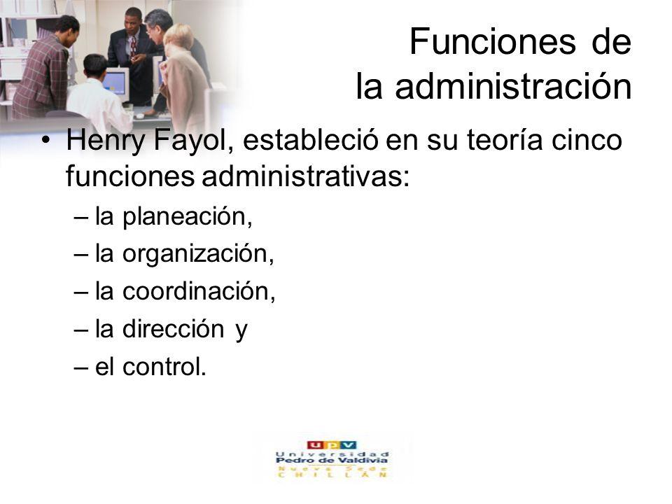 www.auladeeconomia.com Funciones de la administración Henry Fayol, estableció en su teoría cinco funciones administrativas: –la planeación, –la organi