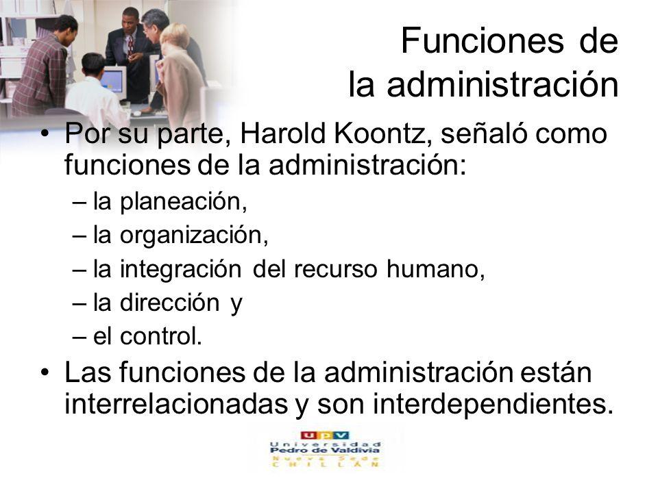 www.auladeeconomia.com Funciones de la administración Por su parte, Harold Koontz, señaló como funciones de la administración: –la planeación, –la organización, –la integración del recurso humano, –la dirección y –el control.