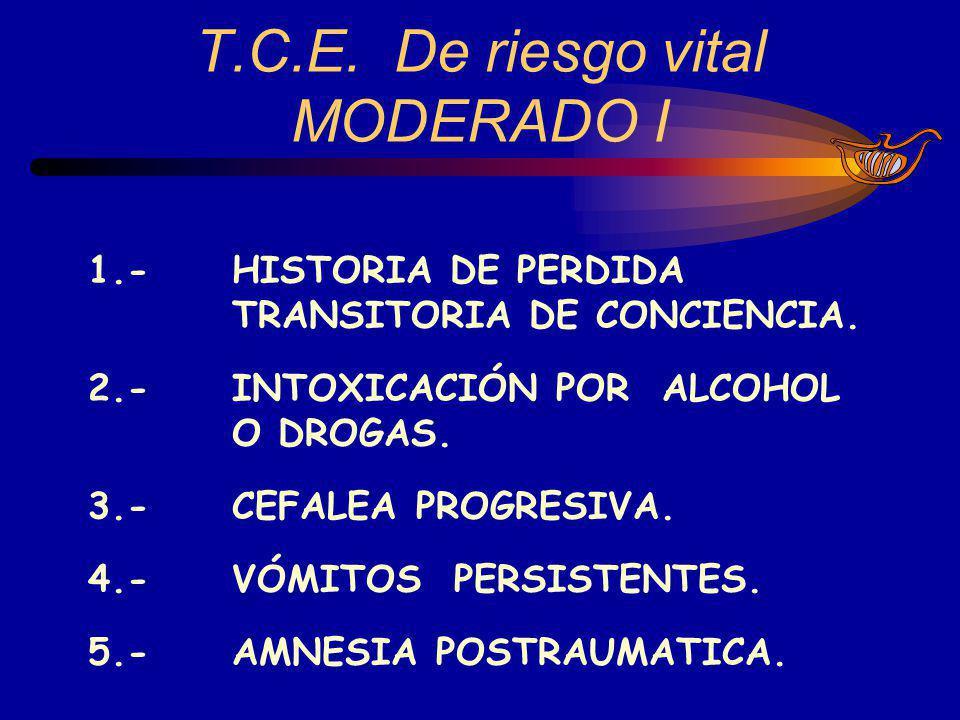 T.C.E. De riesgo vital MODERADO I 1.-HISTORIA DE PERDIDA TRANSITORIA DE CONCIENCIA. 2.-INTOXICACIÓN POR ALCOHOL O DROGAS. 3.-CEFALEA PROGRESIVA. 4.-VÓ