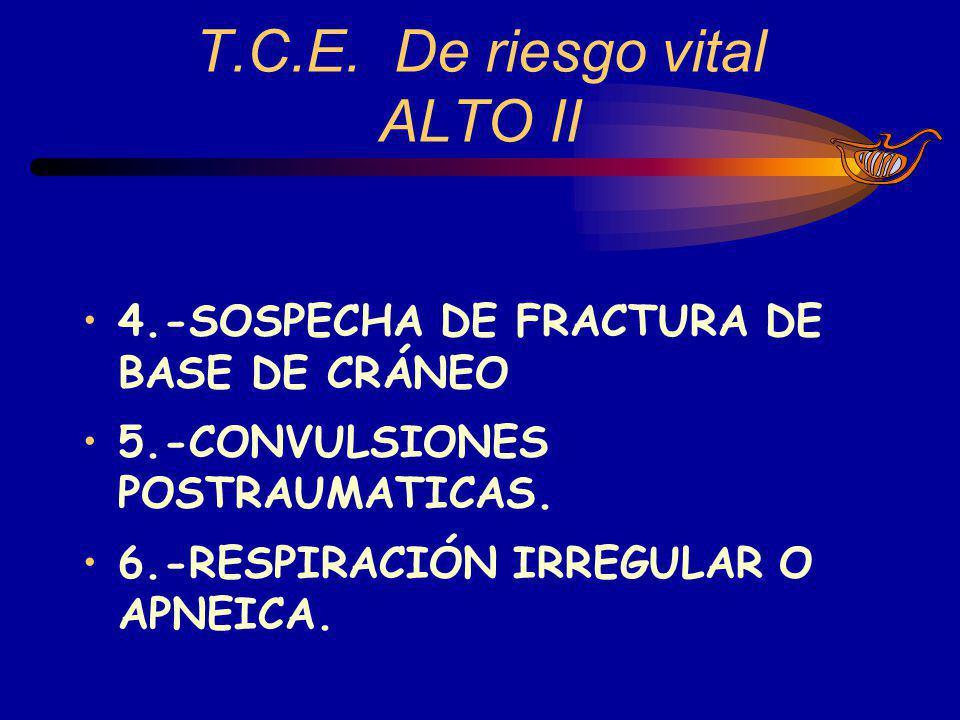 T.C.E. De riesgo vital ALTO II 4.-SOSPECHA DE FRACTURA DE BASE DE CRÁNEO 5.-CONVULSIONES POSTRAUMATICAS. 6.-RESPIRACIÓN IRREGULAR O APNEICA.