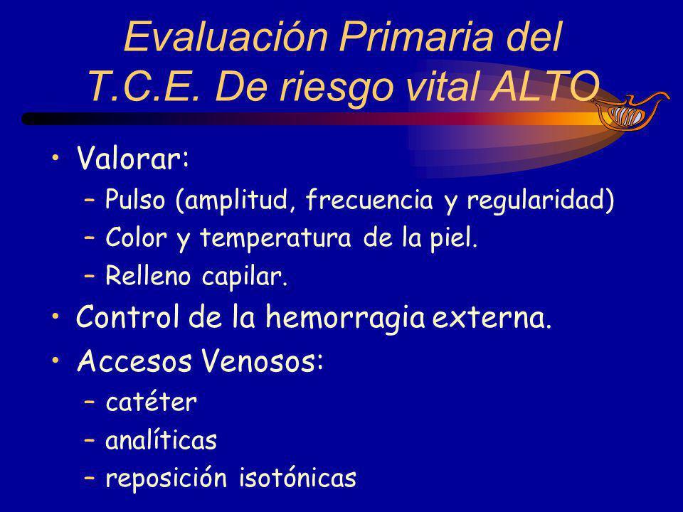 Valorar: –Pulso (amplitud, frecuencia y regularidad) –Color y temperatura de la piel. –Relleno capilar. Control de la hemorragia externa. Accesos Veno