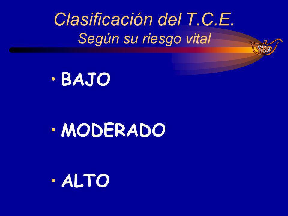 BAJO MODERADO ALTO Clasificación del T.C.E. Según su riesgo vital
