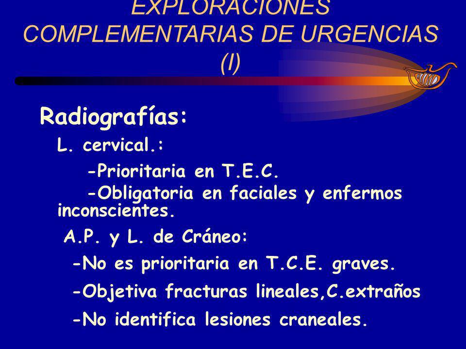 EXPLORACIONES COMPLEMENTARIAS DE URGENCIAS (I) Radiografías: L. cervical.: -Prioritaria en T.E.C. -Obligatoria en faciales y enfermos inconscientes. A