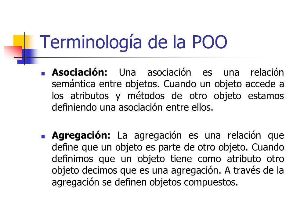 Terminología de la POO Asociación: Una asociación es una relación semántica entre objetos.