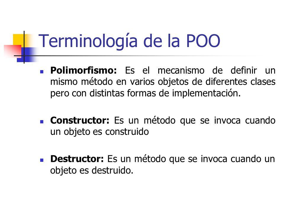 Terminología de la POO Polimorfismo: Es el mecanismo de definir un mismo método en varios objetos de diferentes clases pero con distintas formas de implementación.
