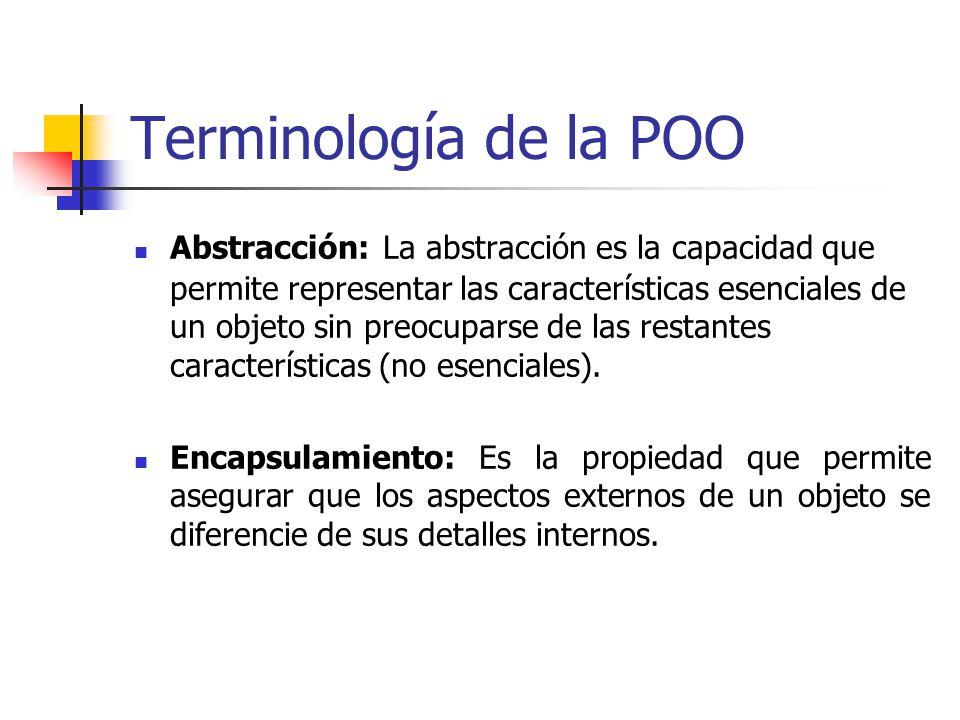 Terminología de la POO Abstracción: La abstracción es la capacidad que permite representar las características esenciales de un objeto sin preocuparse de las restantes características (no esenciales).