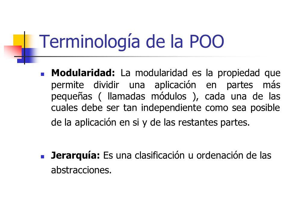 Terminología de la POO Generalización: Una clase que comparte atributos y métodos similares con otras clases se le llama superclase o clase padre.