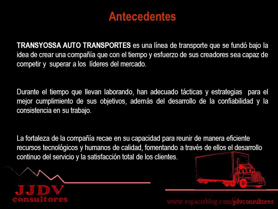 Antecedentes TRANSYOSSA AUTO TRANSPORTES es una línea de transporte que se fundó bajo la idea de crear una compañía que con el tiempo y esfuerzo de sus creadores sea capaz de competir y superar a los líderes del mercado.