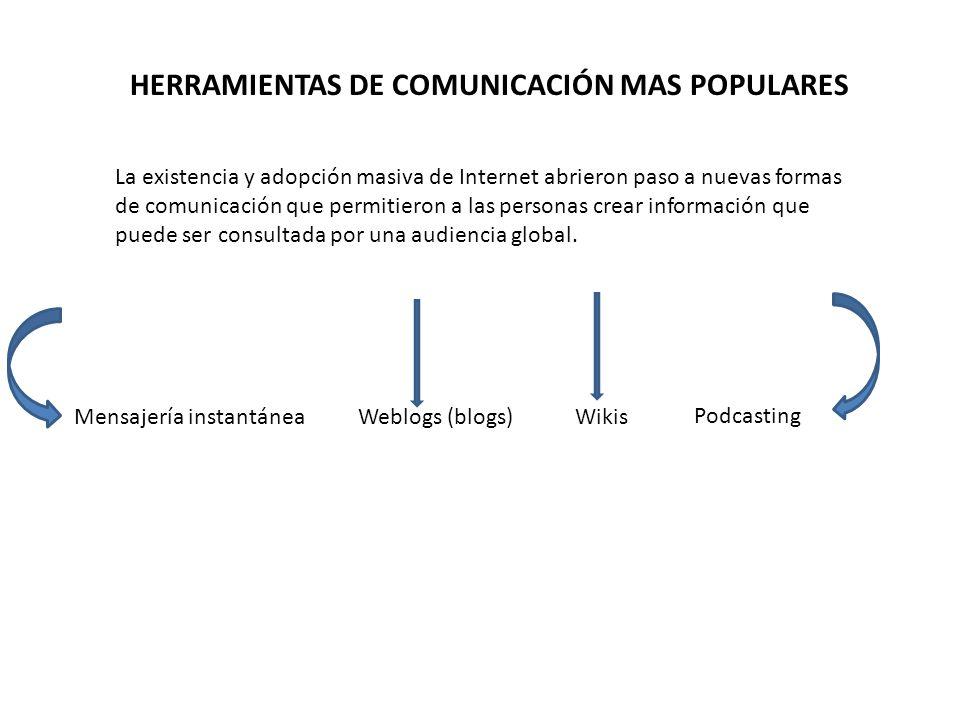 HERRAMIENTAS DE COMUNICACIÓN MAS POPULARES La existencia y adopción masiva de Internet abrieron paso a nuevas formas de comunicación que permitieron a
