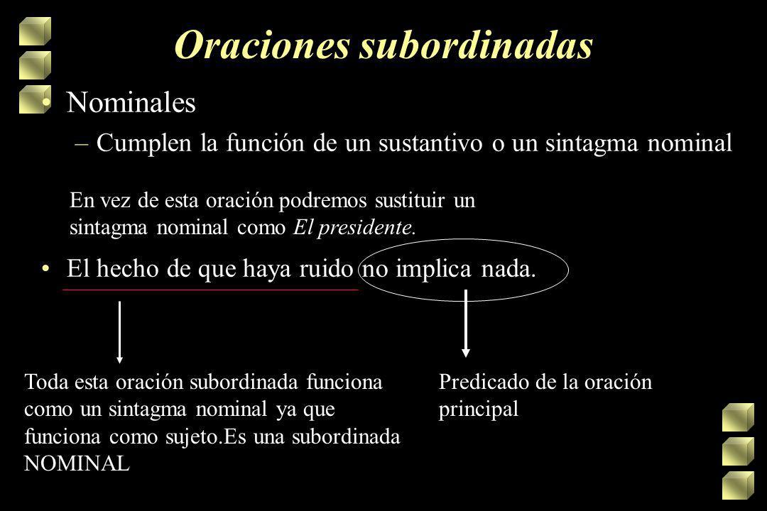 Oraciones subordinadas Nominales –Cumplen la función de un sustantivo o un sintagma nominal La profe dijo que todos iban a salir bien en el examen. Su