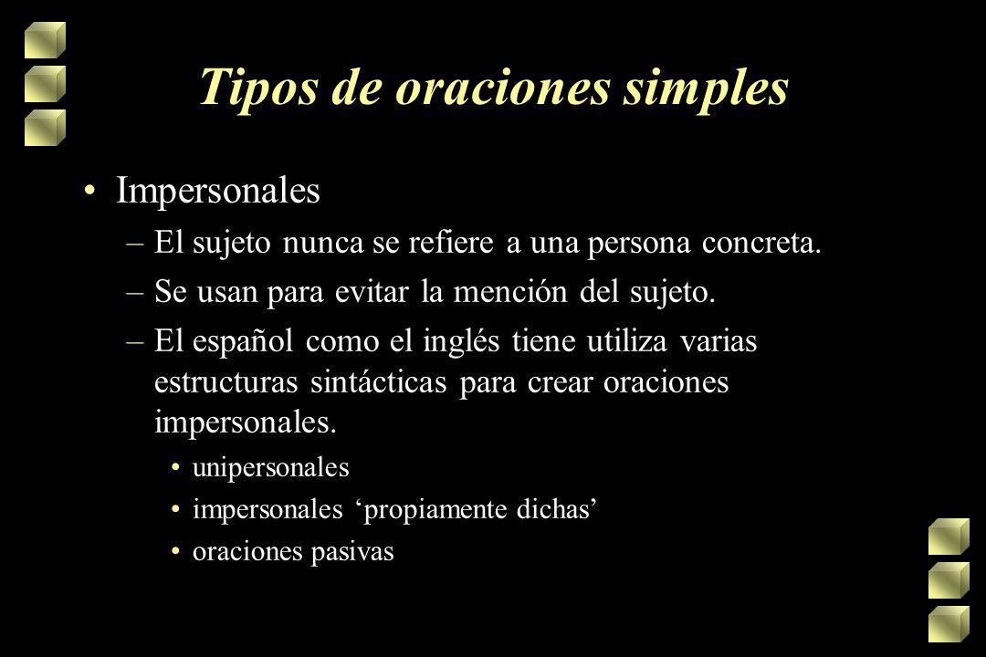 Tipos de oraciones simples Impersonales –El sujeto nunca se refiere a una persona concreta.