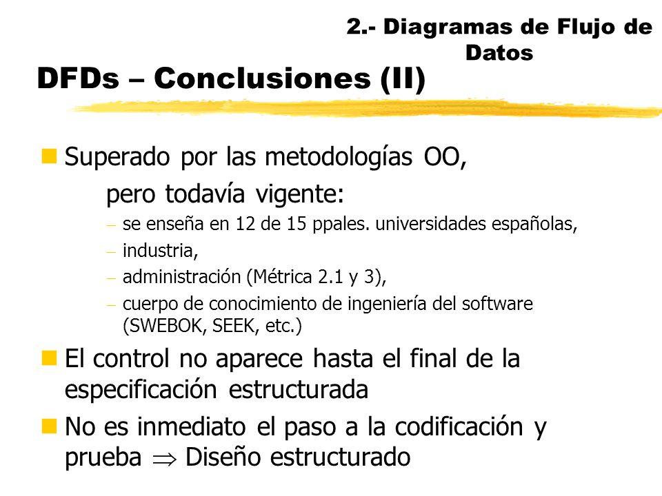DFDs - Conclusiones nValiosa herramienta de comunicación nUsuario, analista, diseñador, programador nSe puede combinar con el uso de prototipos nFácil