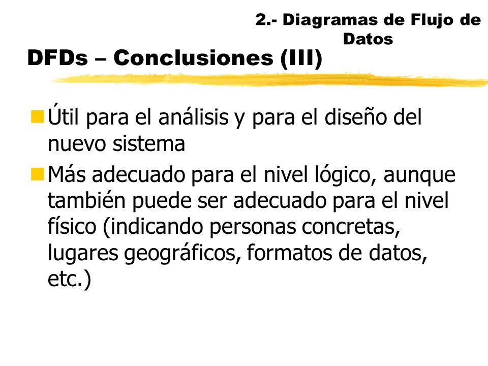 DFDs – Conclusiones (II) nSuperado por las metodologías OO, pero todavía vigente: se enseña en 12 de 15 ppales. universidades españolas, industria, ad