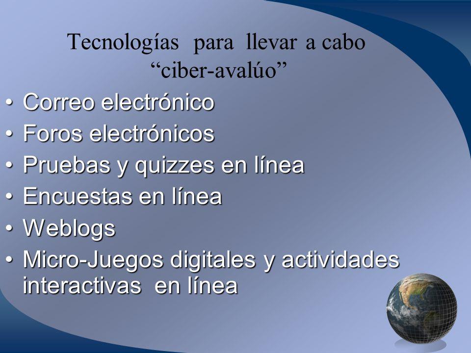 Tecnologías para llevar a cabo ciber-avalúo Correo electrónicoCorreo electrónico Foros electrónicosForos electrónicos Pruebas y quizzes en líneaPruebas y quizzes en línea Encuestas en líneaEncuestas en línea WeblogsWeblogs Micro-Juegos digitales y actividades interactivas en líneaMicro-Juegos digitales y actividades interactivas en línea