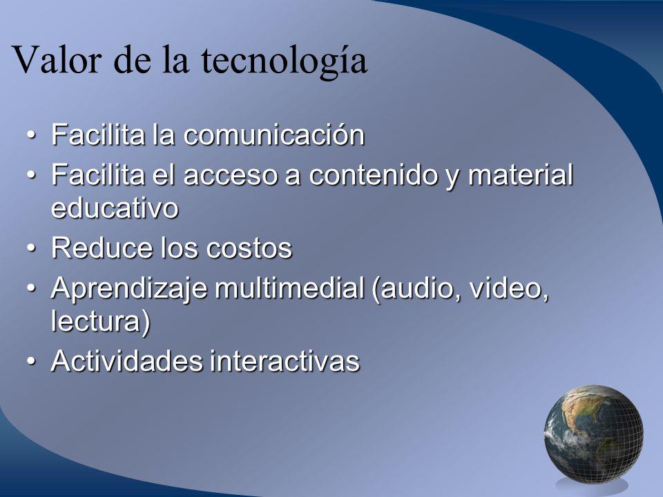 Valor de la tecnología Facilita la comunicaciónFacilita la comunicación Facilita el acceso a contenido y material educativoFacilita el acceso a contenido y material educativo Reduce los costosReduce los costos Aprendizaje multimedial (audio, video, lectura)Aprendizaje multimedial (audio, video, lectura) Actividades interactivasActividades interactivas