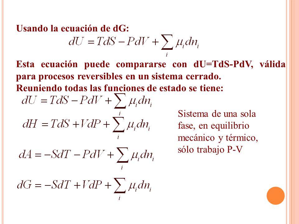 Usando la ecuación de dG: Esta ecuación puede compararse con dU=TdS-PdV, válida para procesos reversibles en un sistema cerrado. Reuniendo todas las f