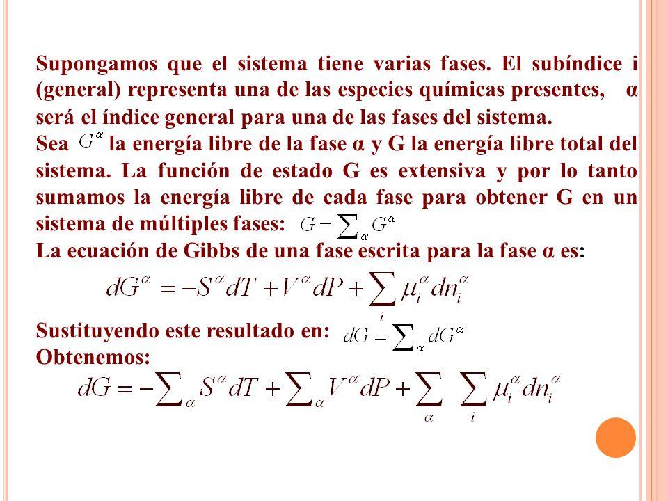 Supongamos que el sistema tiene varias fases. El subíndice i (general) representa una de las especies químicas presentes, α será el índice general par