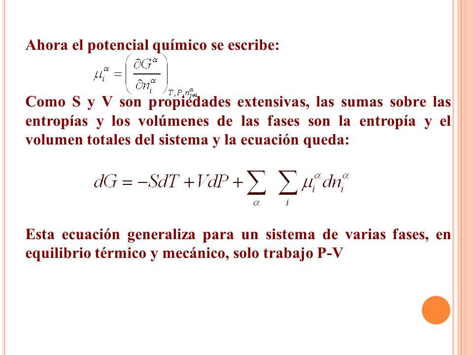 Ahora el potencial químico se escribe: Como S y V son propiedades extensivas, las sumas sobre las entropías y los volúmenes de las fases son la entrop