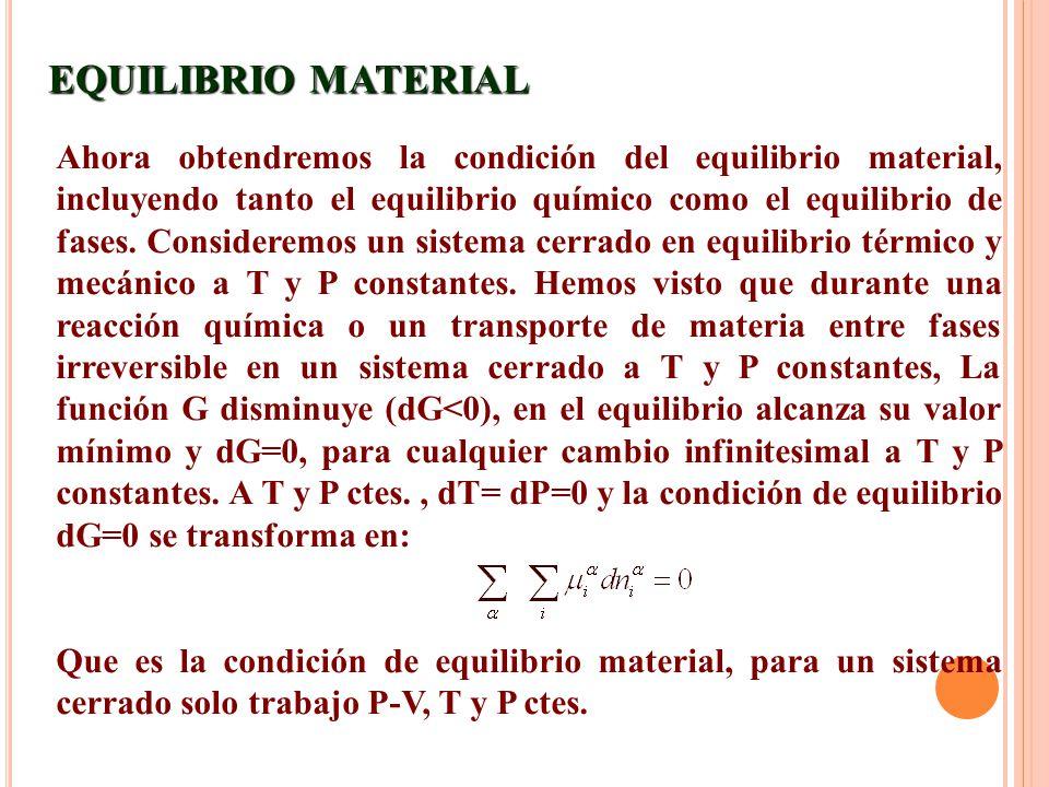 Ahora obtendremos la condición del equilibrio material, incluyendo tanto el equilibrio químico como el equilibrio de fases. Consideremos un sistema ce