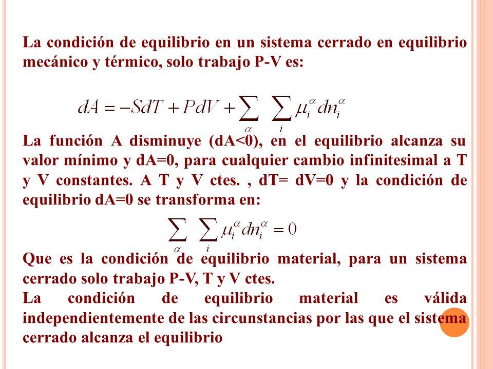 La condición de equilibrio en un sistema cerrado en equilibrio mecánico y térmico, solo trabajo P-V es: La función A disminuye (dA<0), en el equilibrio alcanza su valor mínimo y dA=0, para cualquier cambio infinitesimal a T y V constantes.
