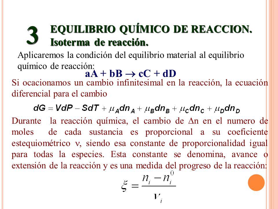 EQUILIBRIO QUÍMICO DE REACCION. Isoterma de reacción. 3 aA + bB cC + dD Aplicaremos la condición del equilibrio material al equilibrio químico de reac