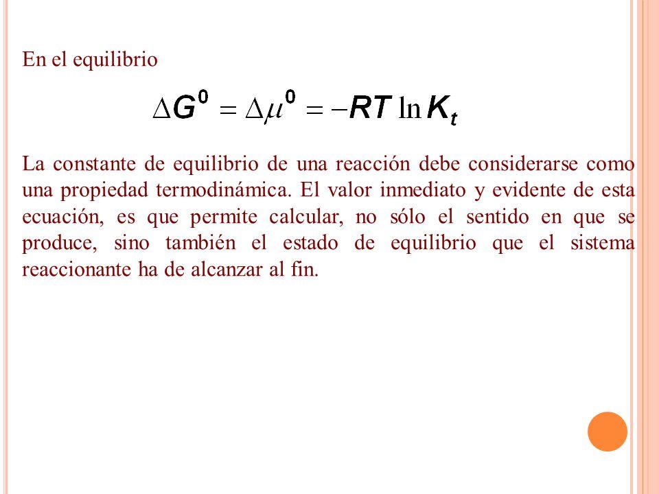En el equilibrio La constante de equilibrio de una reacción debe considerarse como una propiedad termodinámica. El valor inmediato y evidente de esta
