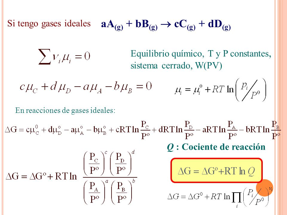 En reacciones de gases ideales: Q : Cociente de reacción aA (g) + bB (g) cC (g) + dD (g) Equilibrio químico, T y P constantes, sistema cerrado, W(PV)