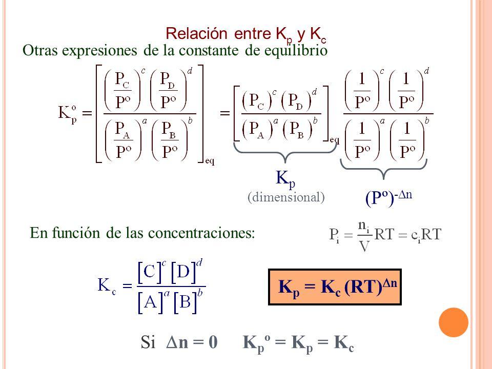 Otras expresiones de la constante de equilibrio K p (dimensional) (Pº) - n K p = K c (RT) n Si n = 0 K p º = K p = K c En función de las concentraciones: Relación entre K p y K c
