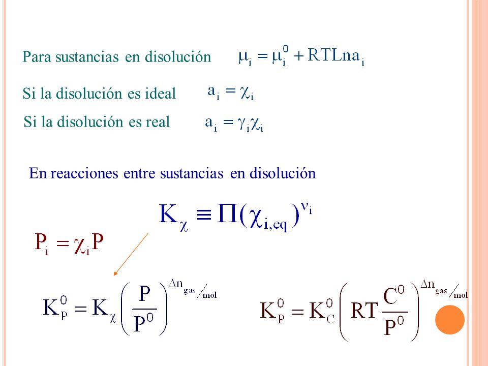 Para sustancias en disolución Si la disolución es ideal Si la disolución es real En reacciones entre sustancias en disolución