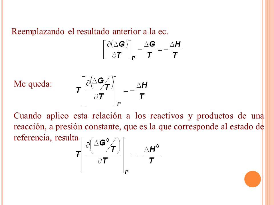 Reemplazando el resultado anterior a la ec. Me queda: Cuando aplico esta relación a los reactivos y productos de una reacción, a presión constante, qu