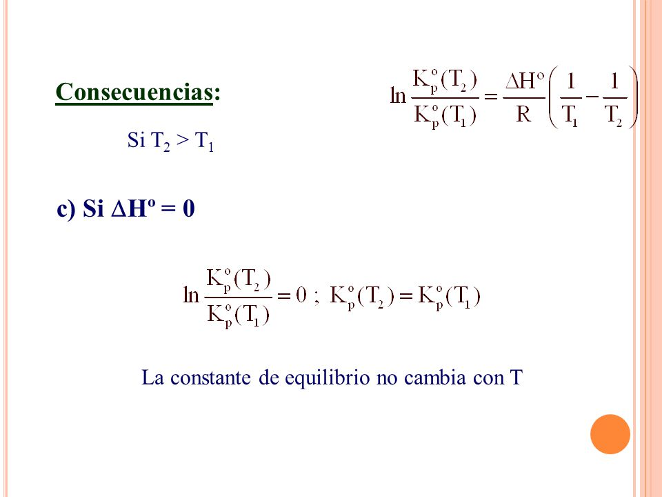 c) Si Hº = 0 Consecuencias: Si T 2 > T 1 La constante de equilibrio no cambia con T