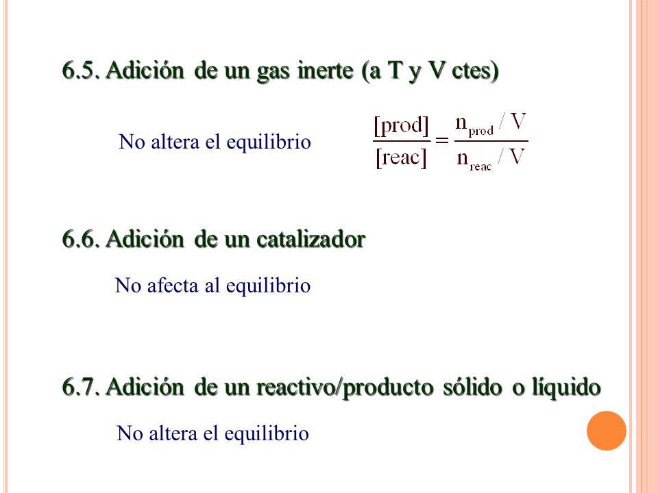 6.5.Adición de un gas inerte (a T y V ctes) 6.6.