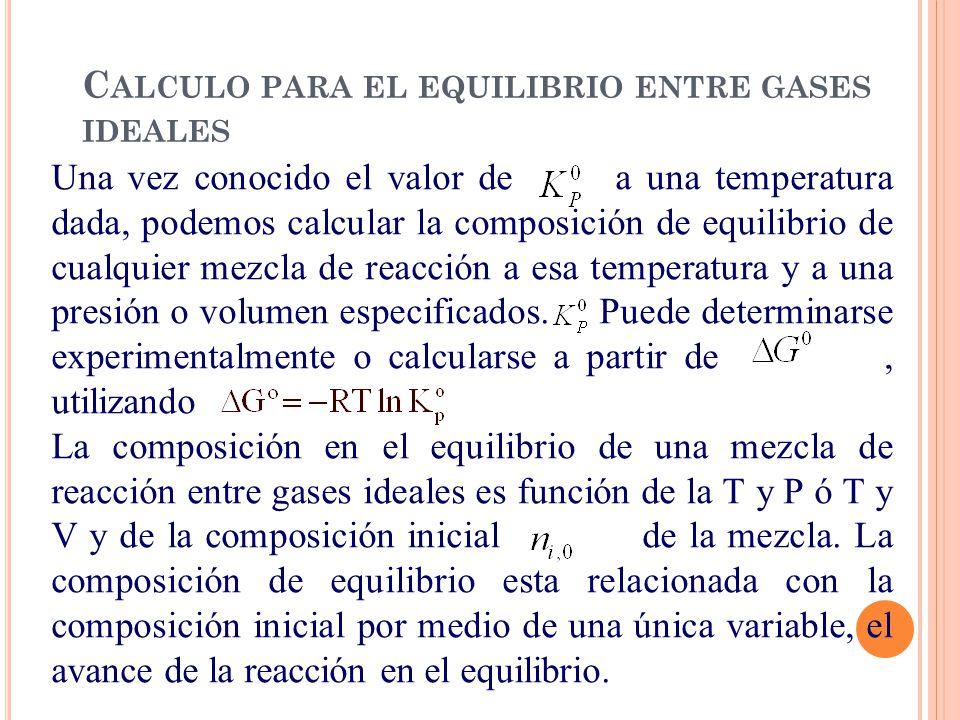 C ALCULO PARA EL EQUILIBRIO ENTRE GASES IDEALES Una vez conocido el valor de a una temperatura dada, podemos calcular la composición de equilibrio de cualquier mezcla de reacción a esa temperatura y a una presión o volumen especificados.