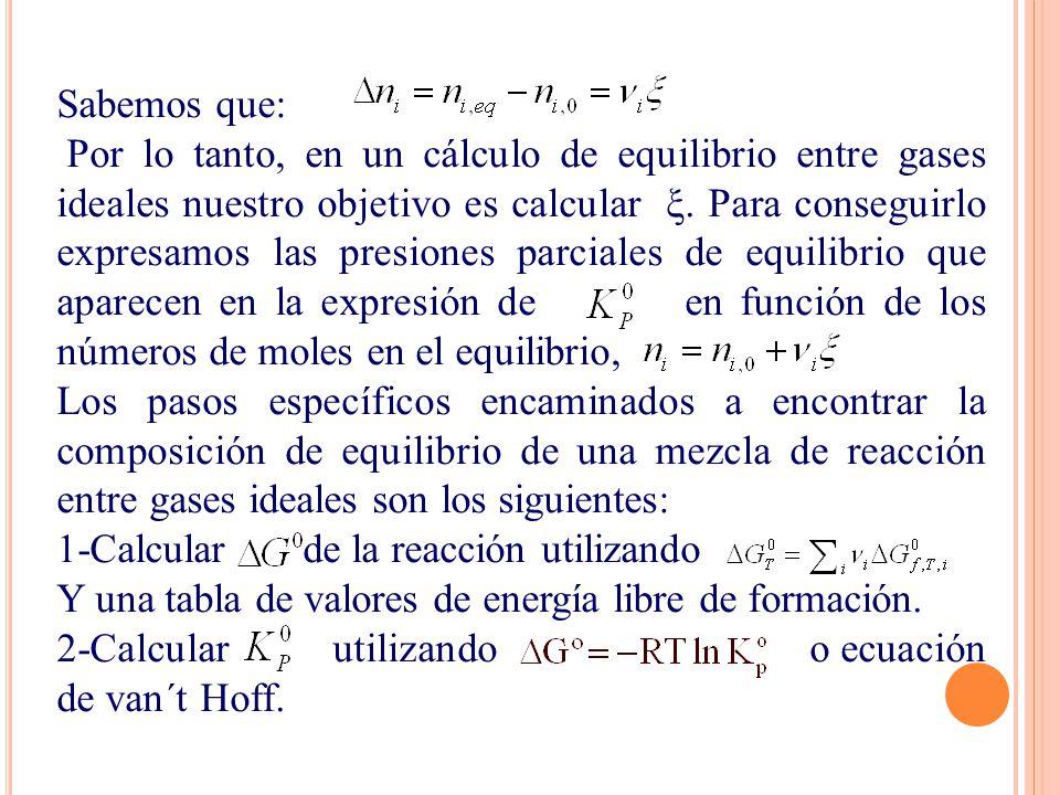 Sabemos que: Por lo tanto, en un cálculo de equilibrio entre gases ideales nuestro objetivo es calcular ξ. Para conseguirlo expresamos las presiones p