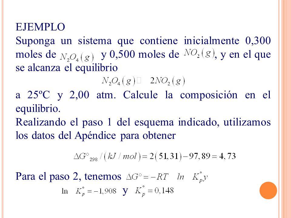 EJEMPLO Suponga un sistema que contiene inicialmente 0,300 moles de y 0,500 moles de, y en el que se alcanza el equilibrio a 25ºC y 2,00 atm. Calcule