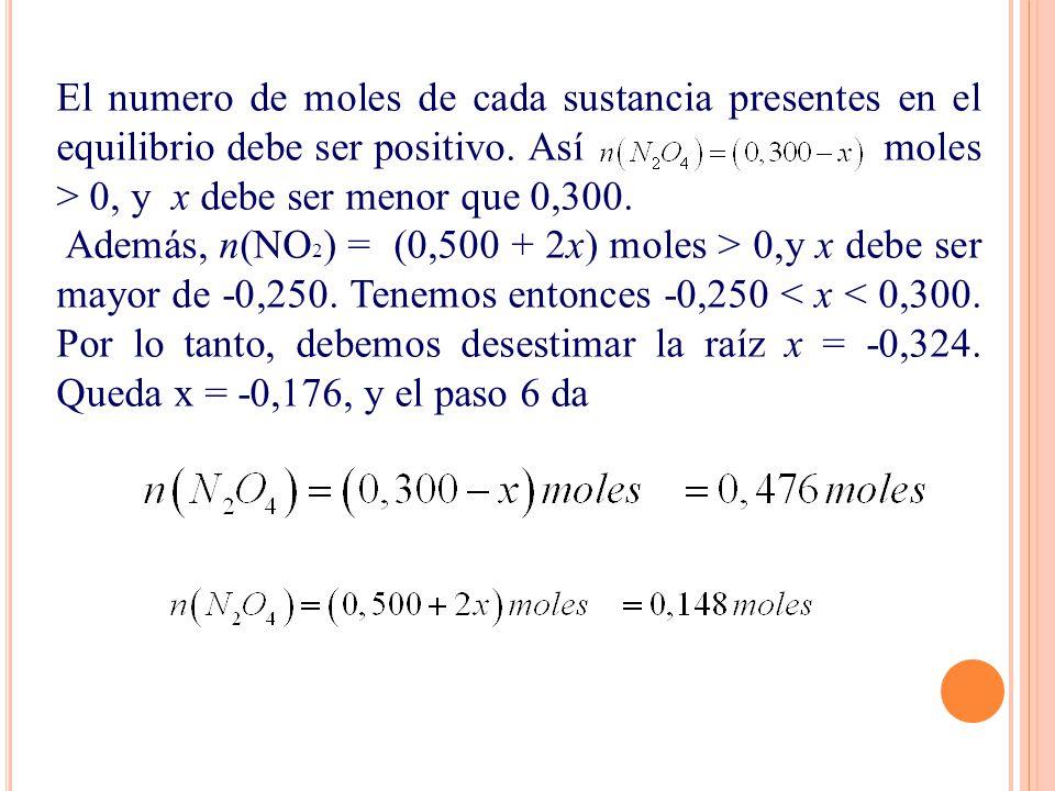 El numero de moles de cada sustancia presentes en el equilibrio debe ser positivo. Así moles > 0, y x debe ser menor que 0,300. Además, n(NO 2 ) = (0,