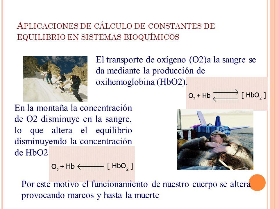 A PLICACIONES DE CÁLCULO DE CONSTANTES DE EQUILIBRIO EN SISTEMAS BIOQUÍMICOS El transporte de oxígeno (O2)a la sangre se da mediante la producción de oxihemoglobina (HbO2).
