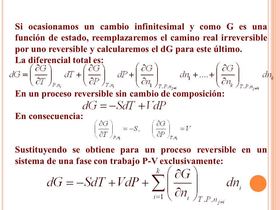 Si ocasionamos un cambio infinitesimal y como G es una función de estado, reemplazaremos el camino real irreversible por uno reversible y calcularemos