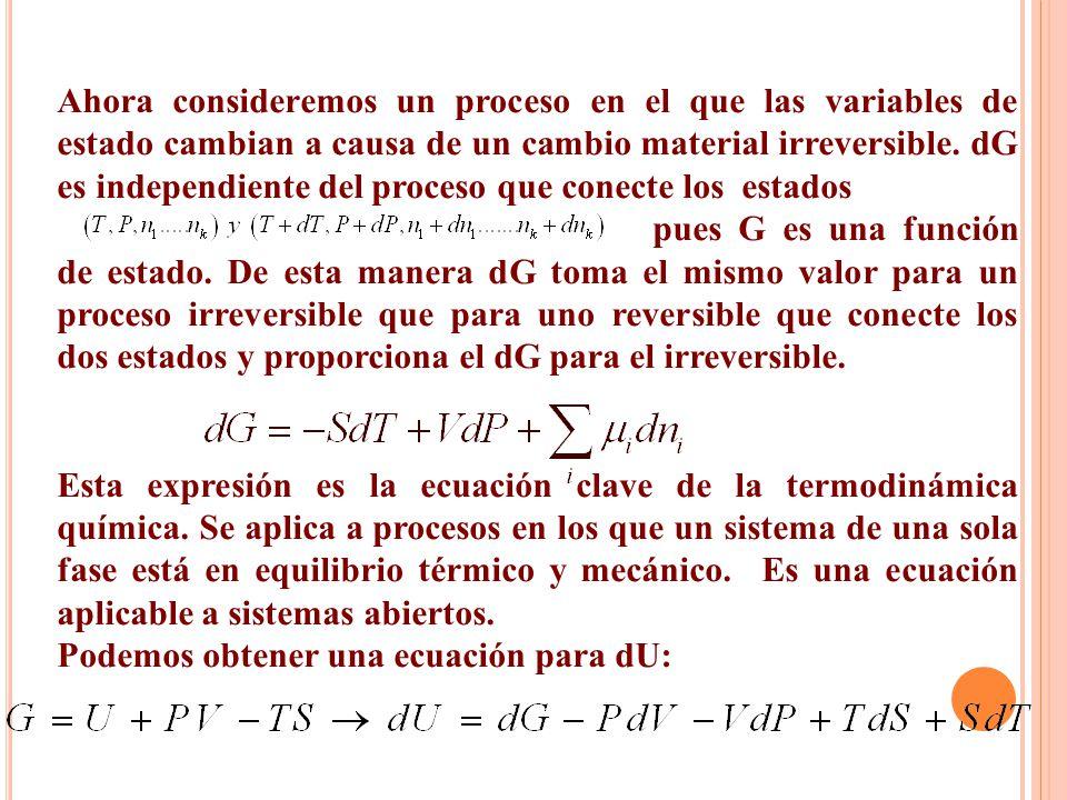 Ahora consideremos un proceso en el que las variables de estado cambian a causa de un cambio material irreversible. dG es independiente del proceso qu