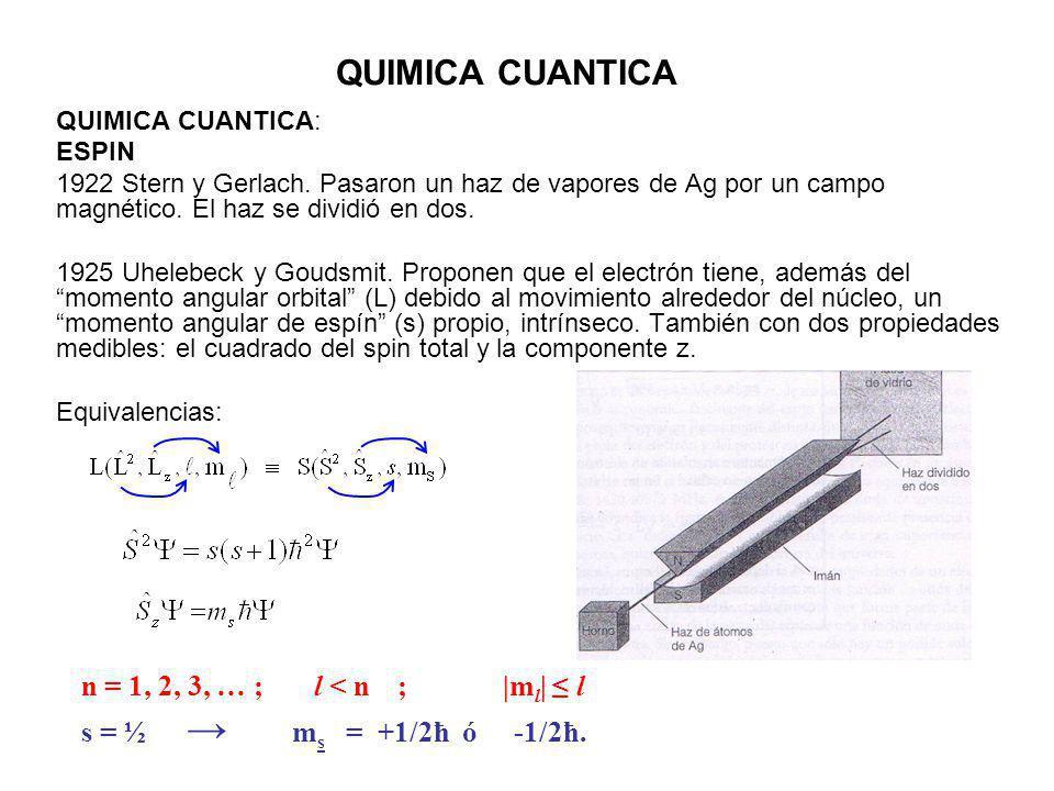 QUIMICA CUANTICA QUIMICA CUANTICA: ESPIN 1922 Stern y Gerlach. Pasaron un haz de vapores de Ag por un campo magnético. El haz se dividió en dos. 1925