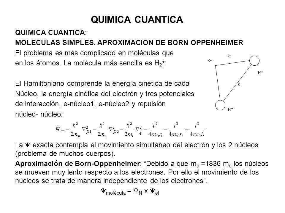 QUIMICA CUANTICA QUIMICA CUANTICA: MOLECULAS SIMPLES. APROXIMACION DE BORN OPPENHEIMER El problema es más complicado en moléculas que en los átomos. L
