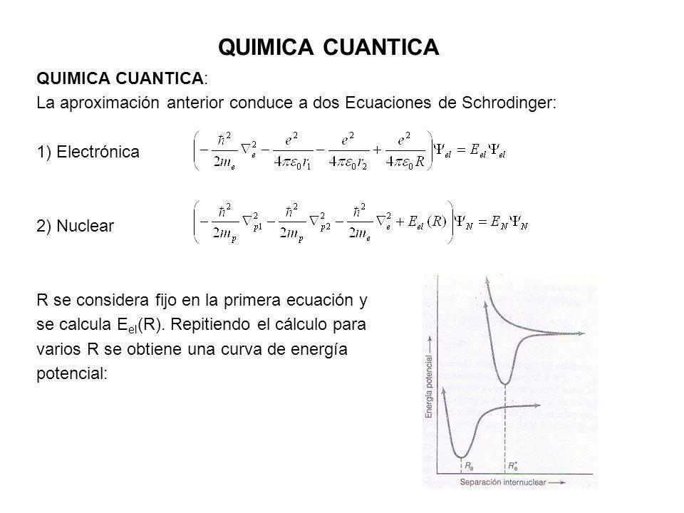 QUIMICA CUANTICA QUIMICA CUANTICA: La aproximación anterior conduce a dos Ecuaciones de Schrodinger: 1) Electrónica 2) Nuclear R se considera fijo en