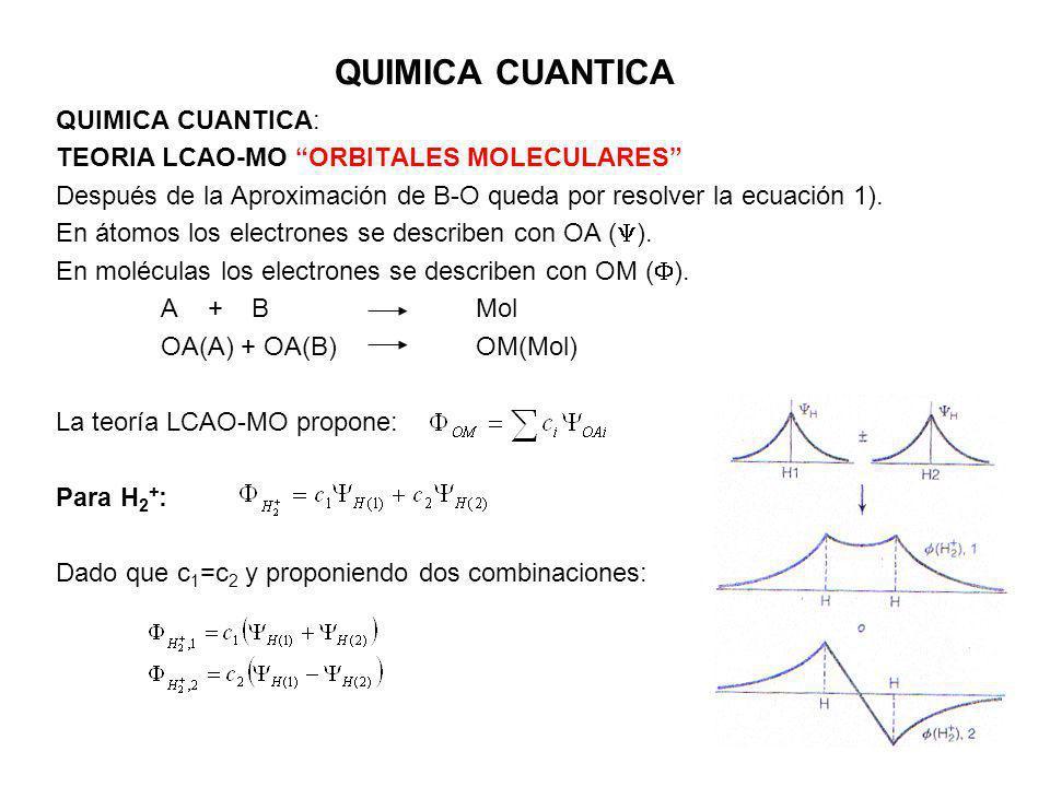 QUIMICA CUANTICA QUIMICA CUANTICA: TEORIA LCAO-MO ORBITALES MOLECULARES Después de la Aproximación de B-O queda por resolver la ecuación 1). En átomos