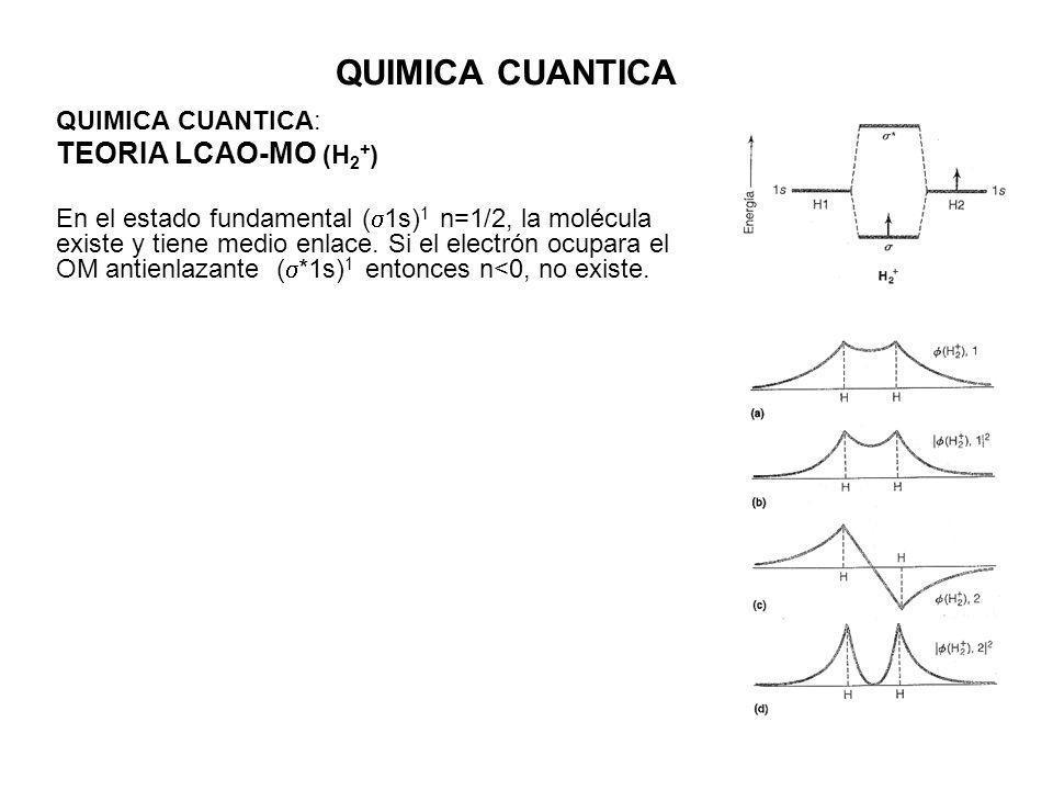 QUIMICA CUANTICA QUIMICA CUANTICA: TEORIA LCAO-MO (H 2 + ) En el estado fundamental ( 1s) 1 n=1/2, la molécula existe y tiene medio enlace.