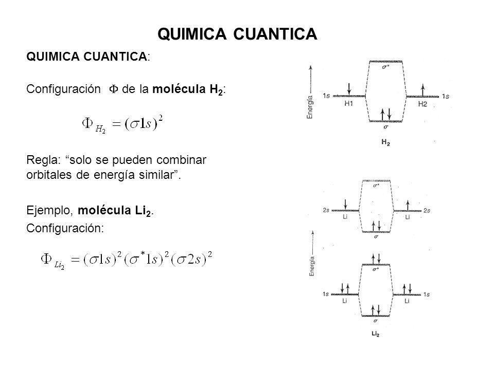 QUIMICA CUANTICA QUIMICA CUANTICA: Configuración de la molécula H 2 : Regla: solo se pueden combinar orbitales de energía similar. Ejemplo, molécula L