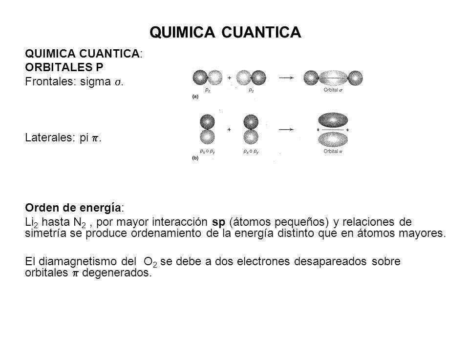 QUIMICA CUANTICA QUIMICA CUANTICA: ORBITALES P Frontales: sigma. Laterales: pi. Orden de energía: Li 2 hasta N 2, por mayor interacción sp (átomos peq
