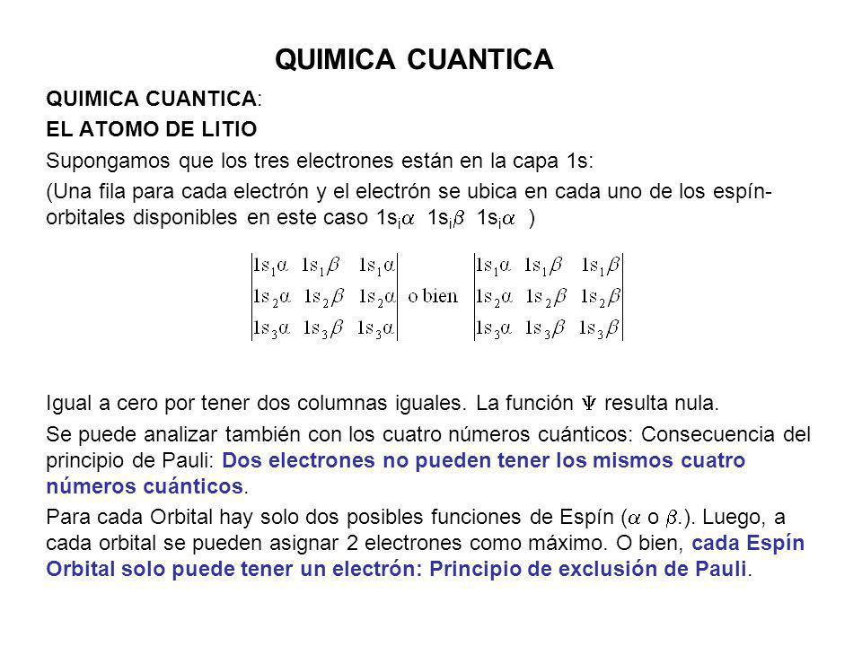 QUIMICA CUANTICA QUIMICA CUANTICA: EL ATOMO DE LITIO Supongamos que los tres electrones están en la capa 1s: (Una fila para cada electrón y el electró