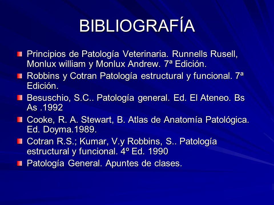 BIBLIOGRAFÍA Principios de Patología Veterinaria. Runnells Rusell, Monlux william y Monlux Andrew. 7ª Edición. Robbins y Cotran Patología estructural